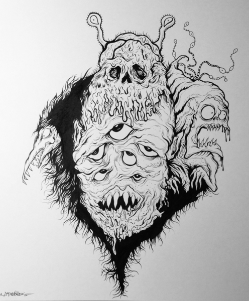 """""""MONSTROUS FURBALL"""" 11 X 14 InchesBrush And Ink"""