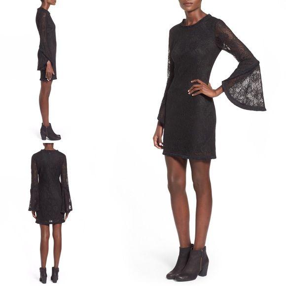 Coming soon....by Whyte Eyelash Whyte Eyelash Bell Sleeve Lace Dress Color: BLACK , Size: L , Whyte Eyelash Dresses Midi