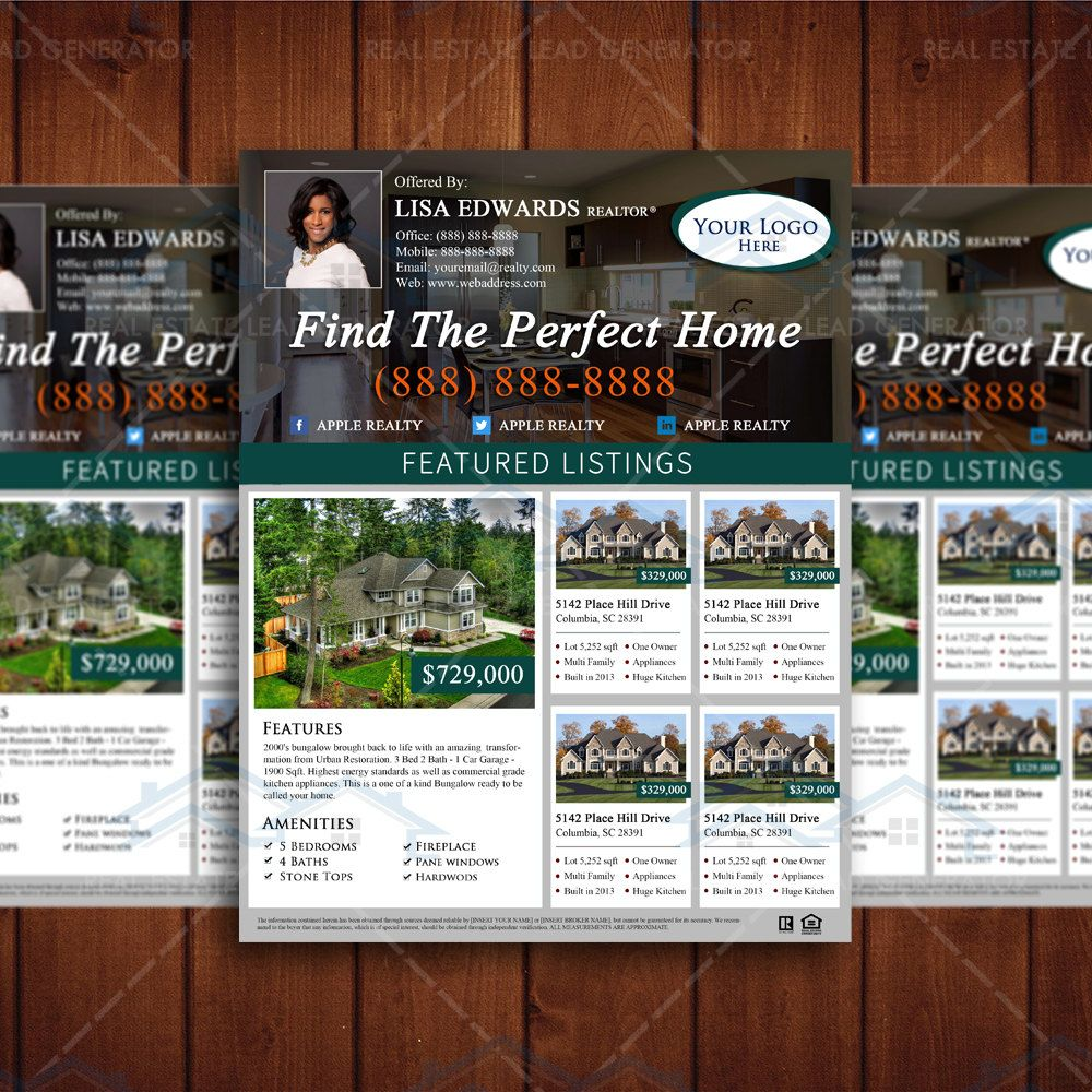 Listing Magazine Template Real Estate Listing Flyer Template Newly Listed Property Marketing Realtor Branding Property Marketing Real Estate Marketing Design