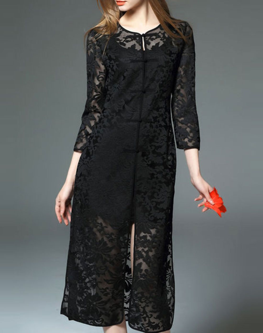 Love this Lacy 3/4 Sleeve Pierced Toggle Button Maxi Dress. VIPme.com offers high-quality Day Dresses at affordable price.