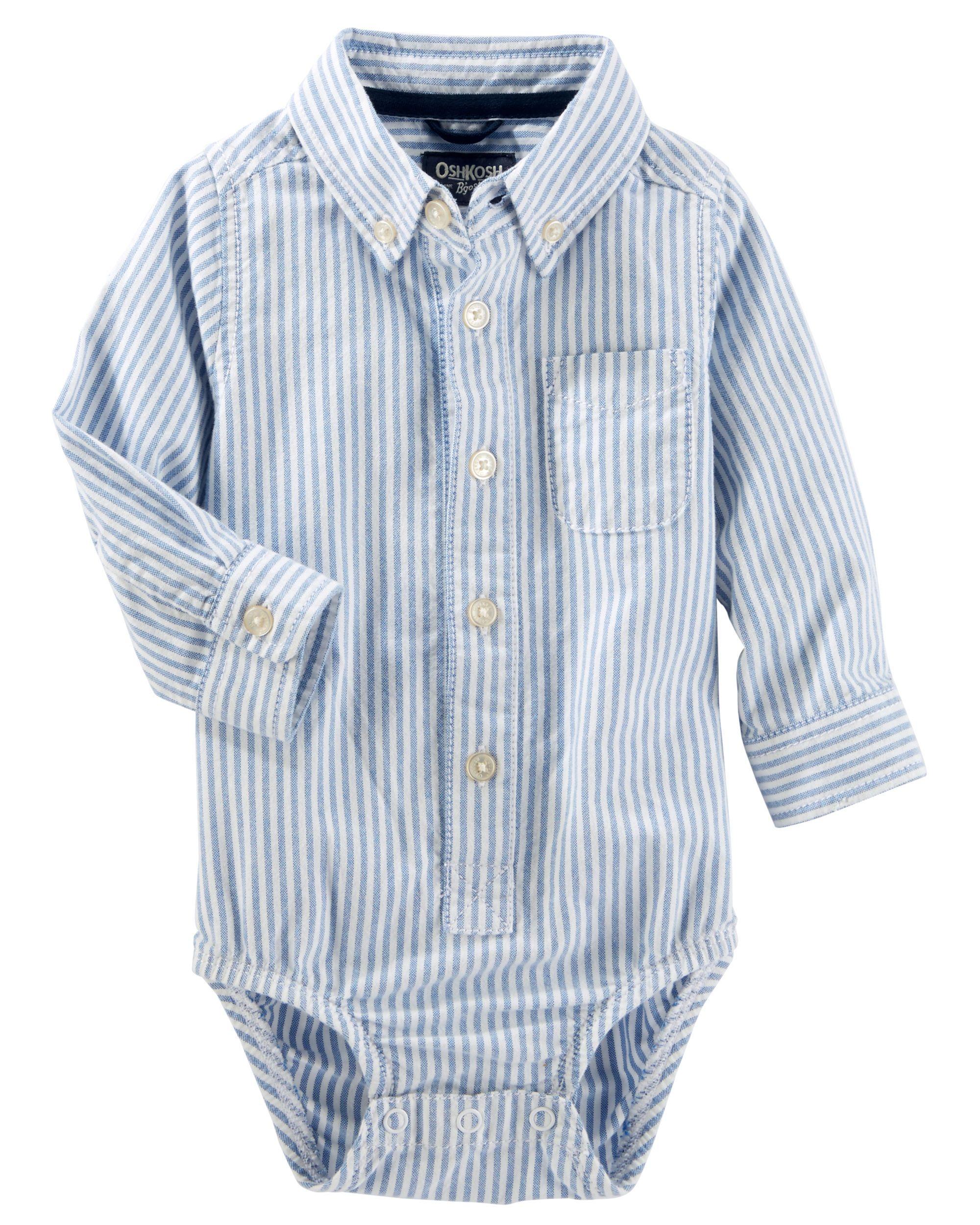 Striped Button front Oxford Bodysuit