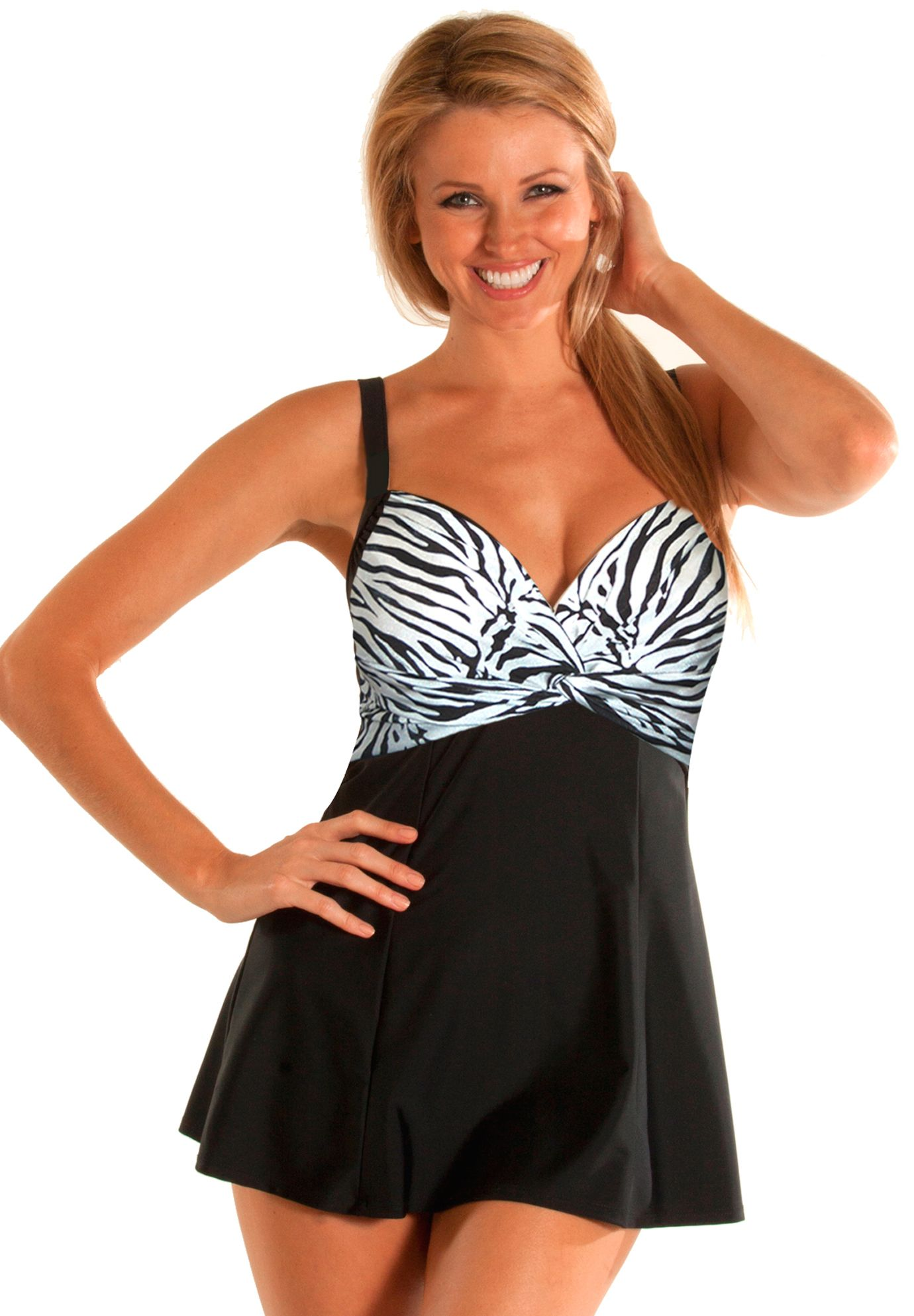 ba0d9fac40b Carol Wior s Slimsuit™ Twist Front Swimdress