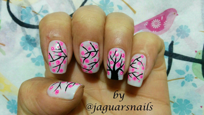 estilo de uñas arbol de cerezo | lindas uñas | Pinterest | Arbol de ...