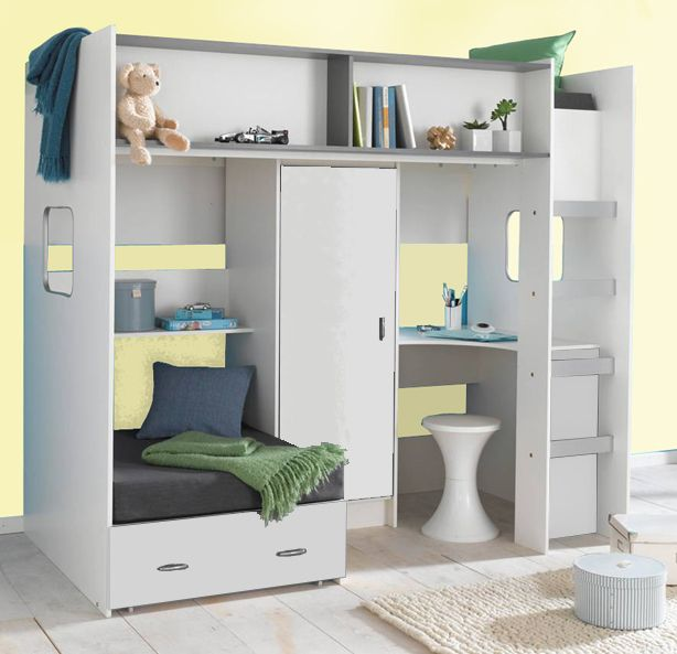 Childrens And Agers High Sleeper Bed With Extra Futon Style Wardrobe Desk 399 203cm Long X 111cm Deep Upto 210cm When The 2nd Is Used