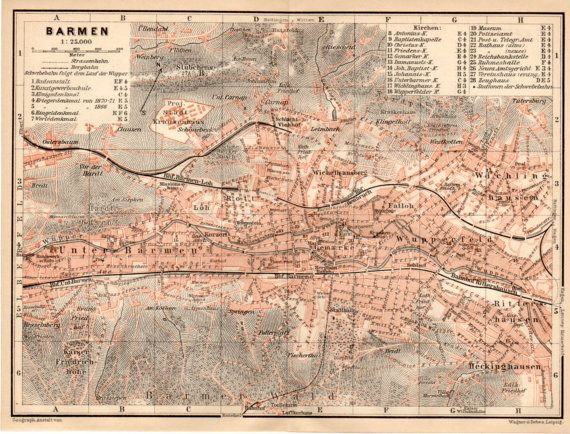 1909 Barmen Germany Antique Map Wuppertal Deutschland Barmen