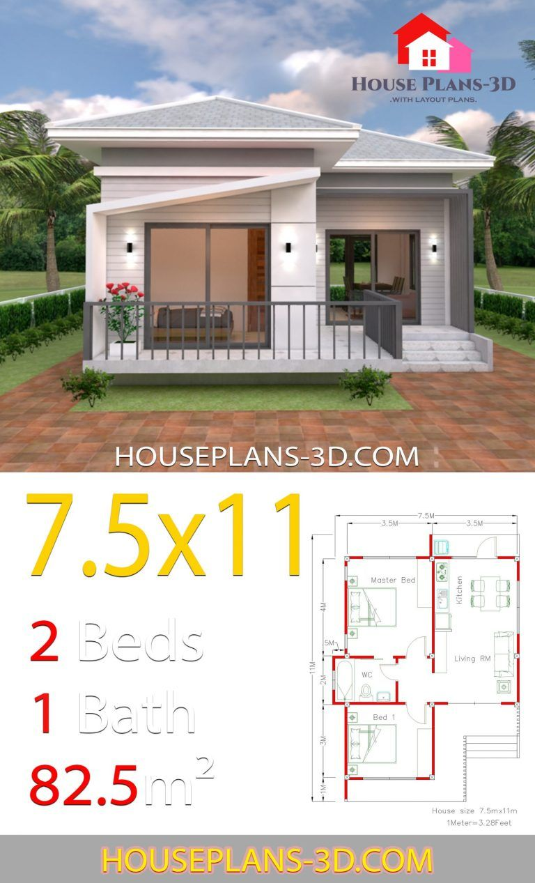 House Design Plans 7 5x11 With 2 Bedrooms Hip Roof Full Plans Samphoas Plan House Plans My House Plans House Construction Plan