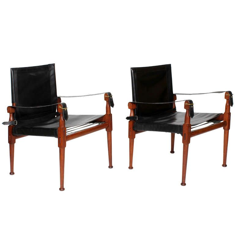 Pair Of Rosewood Black Leather Campaign Chairs Labeled Hayat Bros.