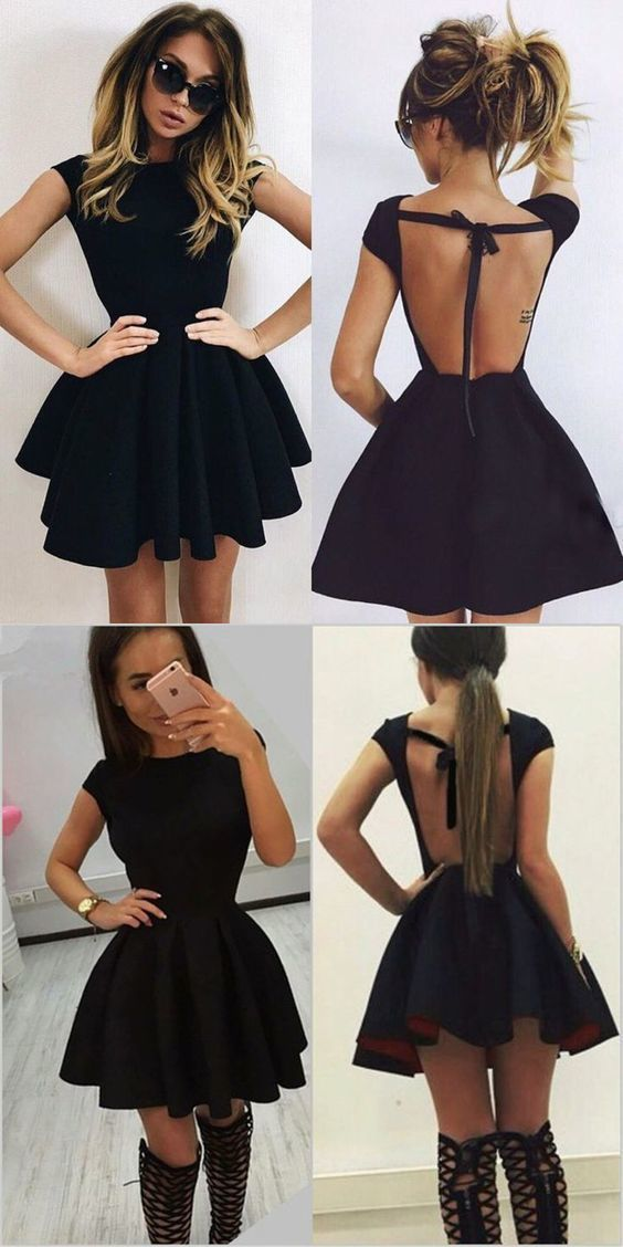 A-line scoop rückenfreies kurzes schwarzes Heimkehrkleid #shortbacklessdress