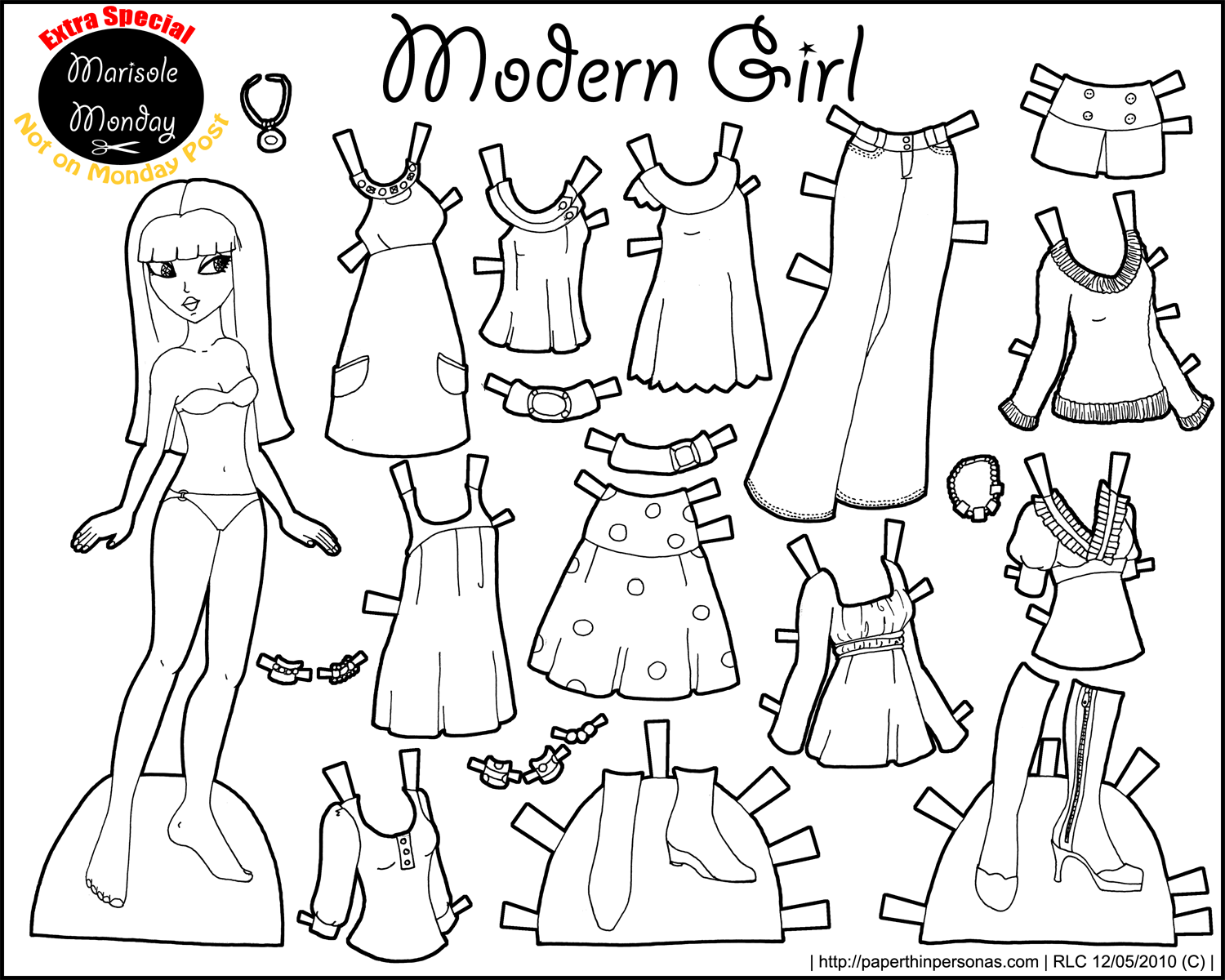 Black and White Printable Paper Doll from the Marisole