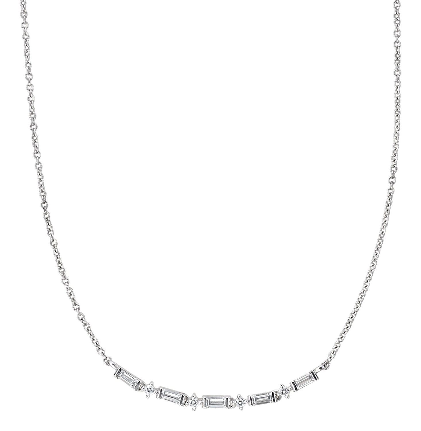 0b42261b2 CRISLU Women's 925 Sterling Silver Baguette Clear Cubic Zirconia Necklace  of Length 40.64-45.73cm