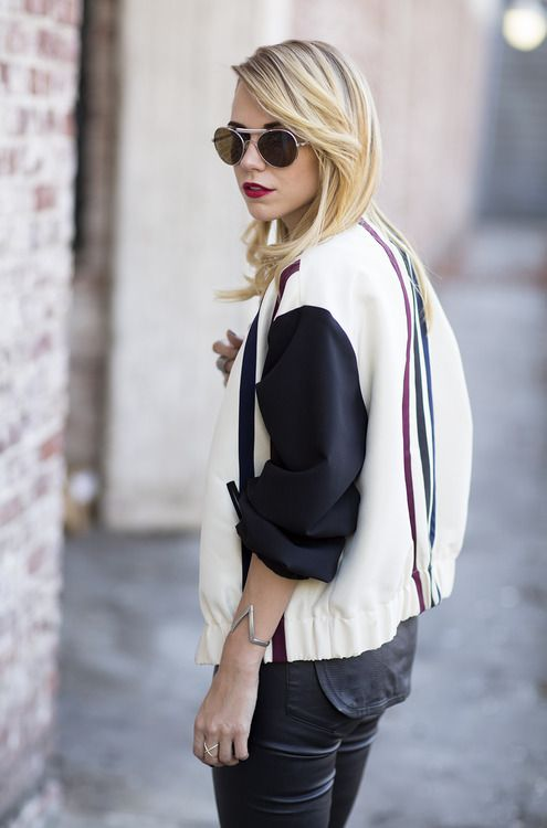 vintage style jacket and leather.