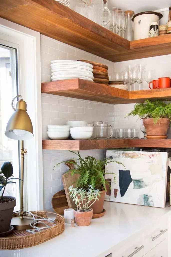 44 Fascinating Small Kitchen Wall Shelves Ideas That Look More Comfort Ideasforyou Co Tiny House Kitchen Kitchen Wall Shelves Open Kitchen Shelves