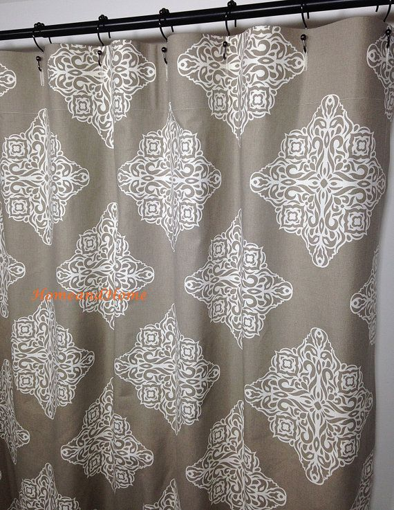 Custom Fabric Shower Curtain Damask Tan Ivory White 72 X 84 74 78 Or 90 96 108 Extra Long