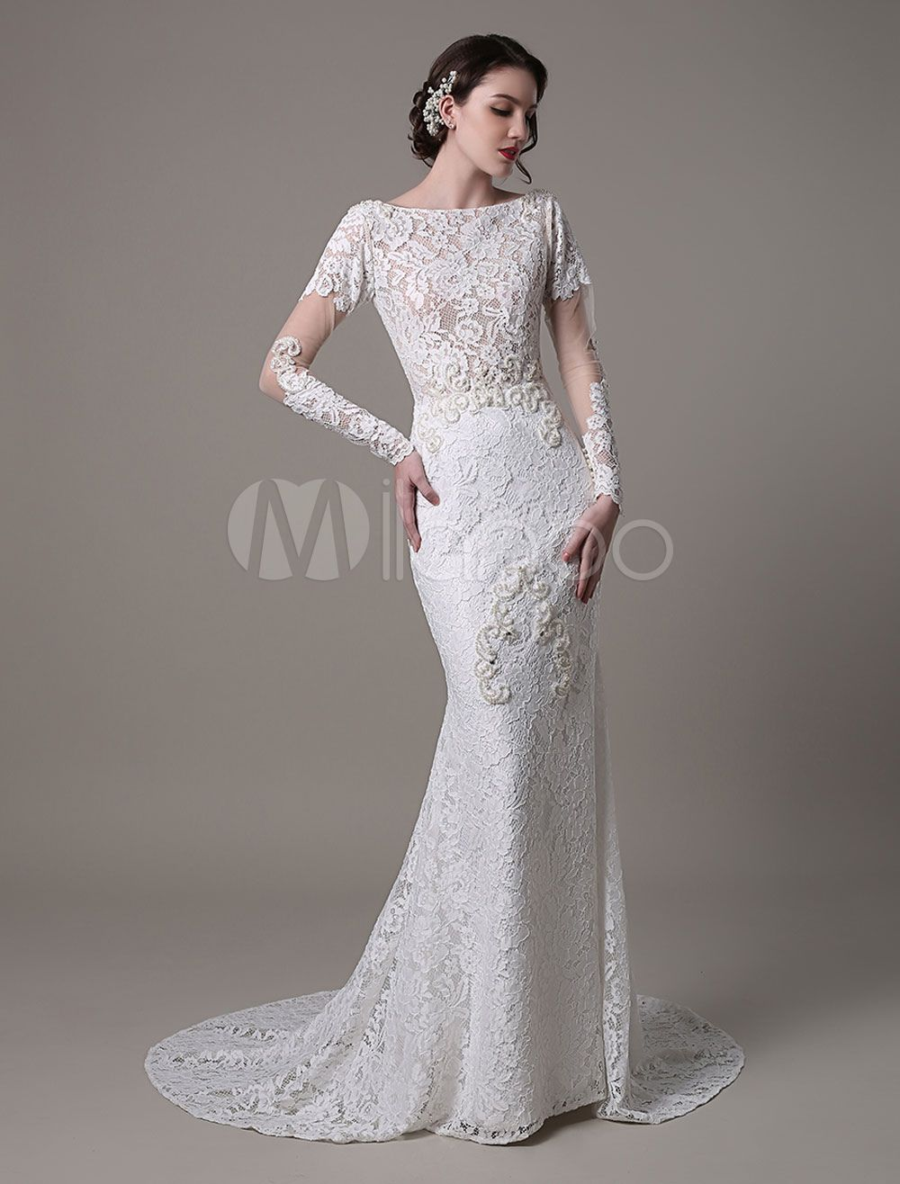 Vintage Lace Wedding Dress With Long Sheer Sleeves And