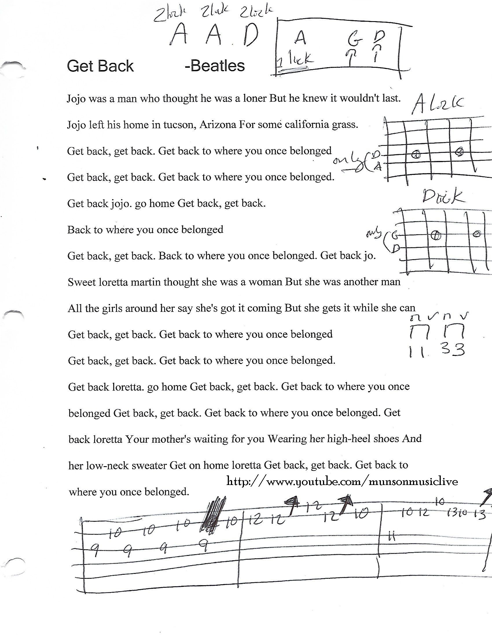 Get Back The Beatles Guitar Chord Chart Guitar Lesson Chord
