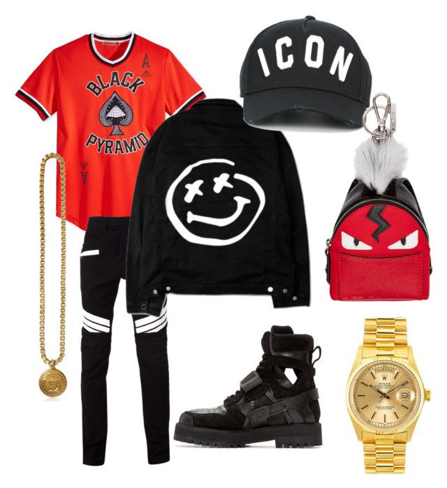"""""""Untitled #56"""" by jabriele on Polyvore featuring Hood by Air, Black Pyramid, Balmain, Versace, Dsquared2, Fendi, Rolex, men's fashion and menswear"""