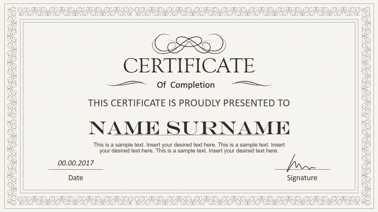 Stylish Certificate Powerpoint Templates in Powerpoint