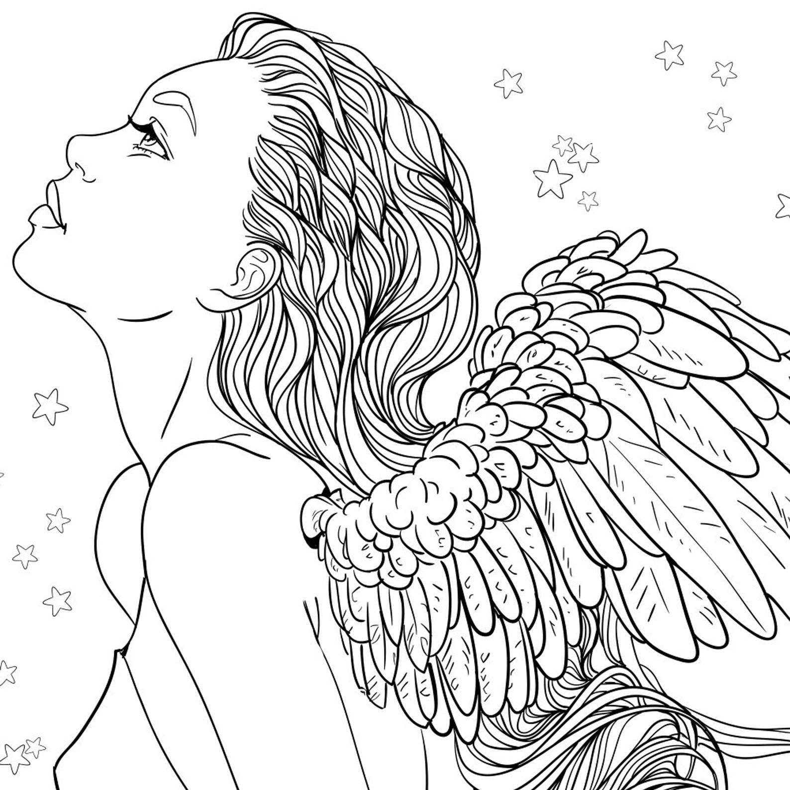 Adult Coloring Page Fantasy Girl Angel Line Art Angel Coloring
