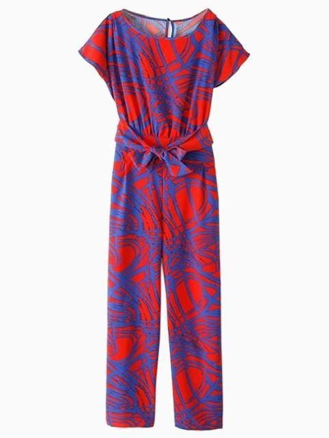 Multicolor Geometric Pattern Romper Jumpsuit With Tie | Choies