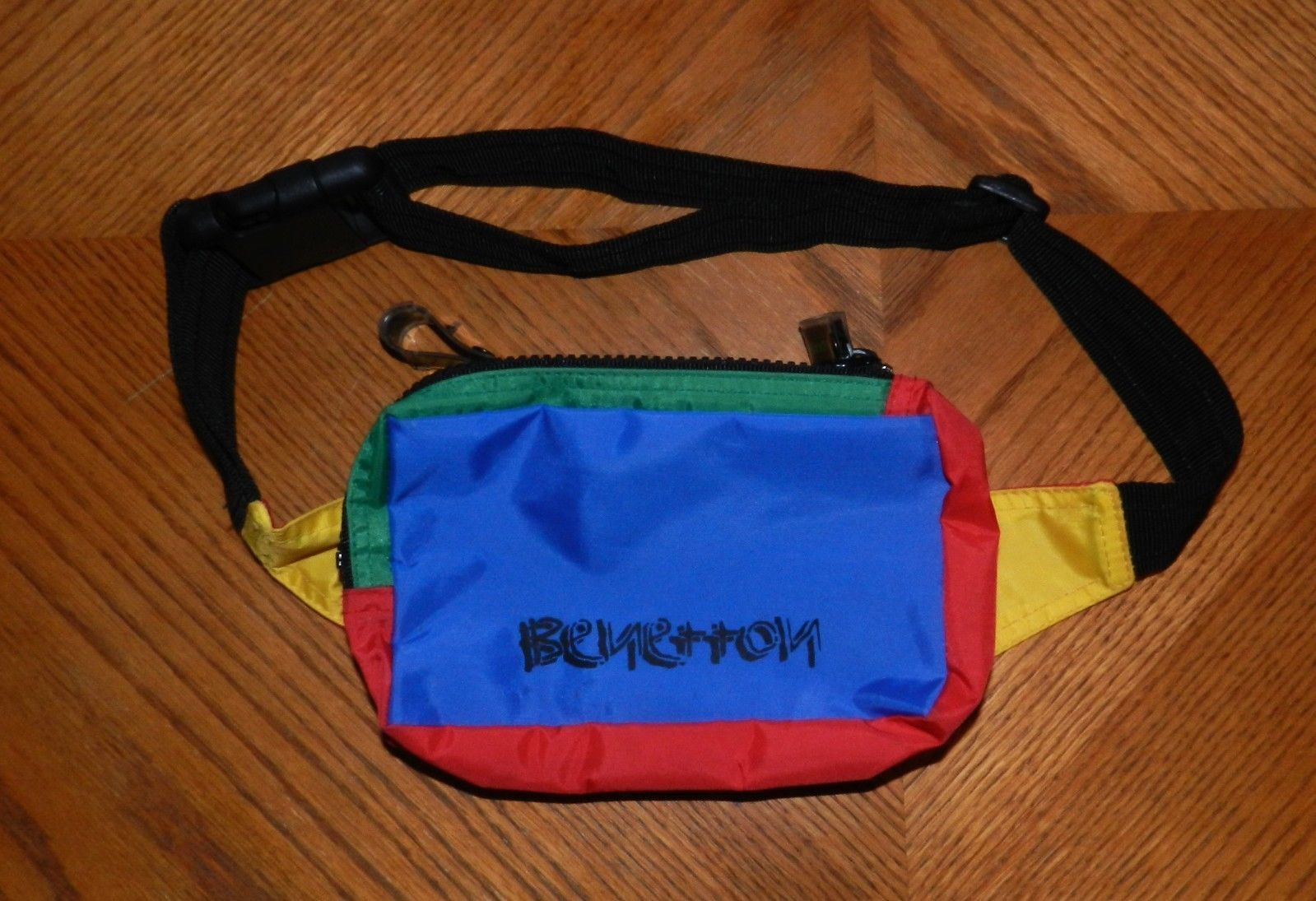 d453f41be0 Vtg Fanny Pack Benetton 80s Waist Bag Belt Pouch Hipster Colorful Hip Hop