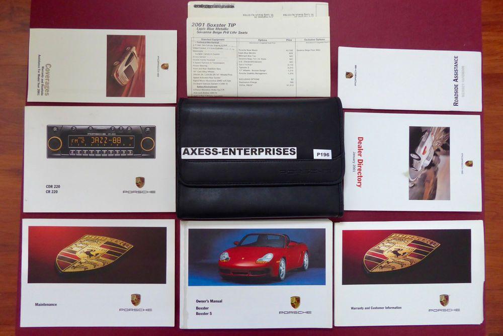 2001 Porsche 986 Boxster Boxster S Owner Manuals Operator Books Package P196 Porsche 986 Boxster S Book Pouch