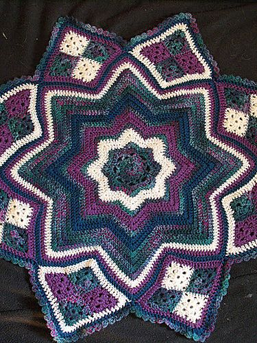 Lilly Pond Eight Point Round Ripple Afghan Pattern By Monica Kennedy