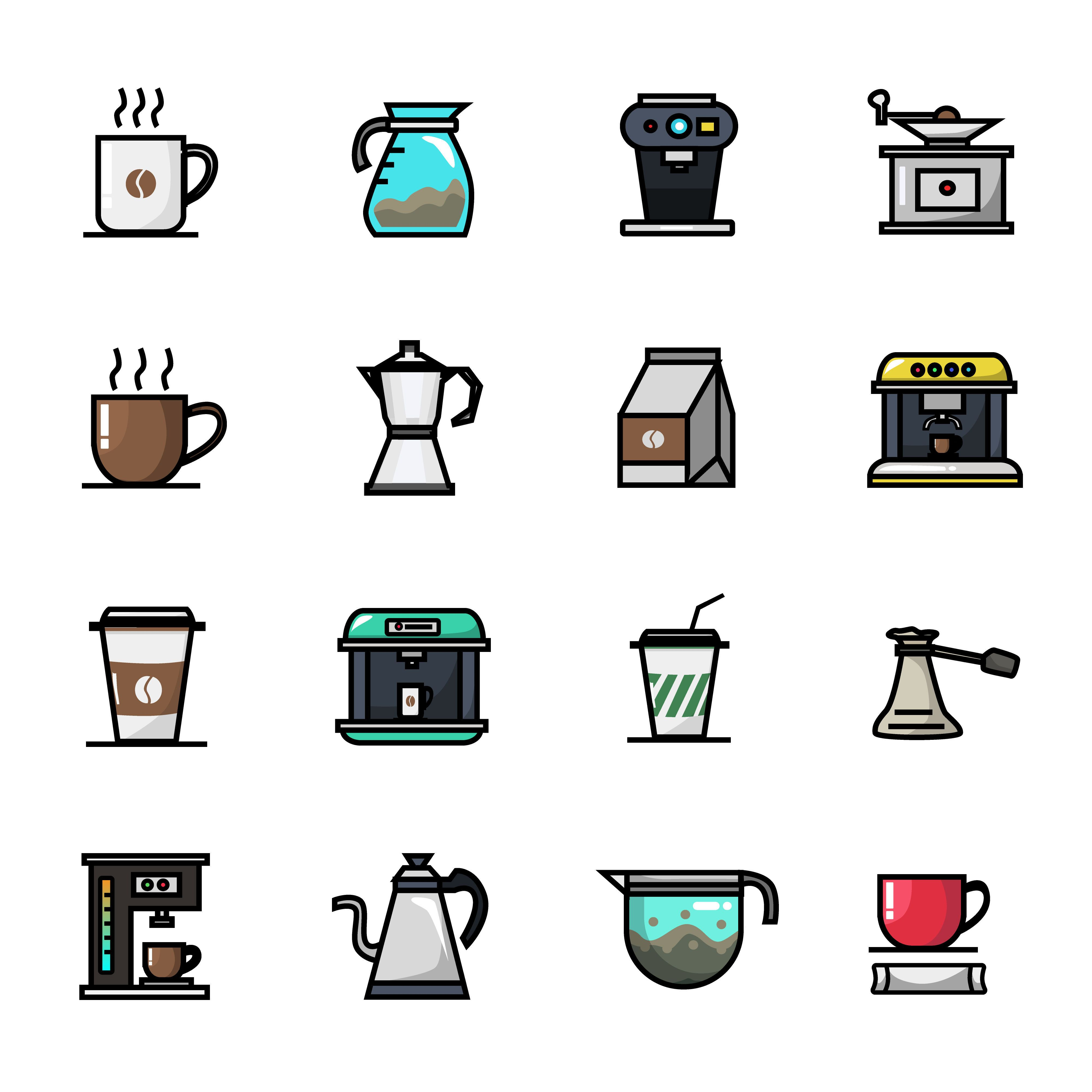Coffee Shop Barista Cafe Icon Set Full Color By