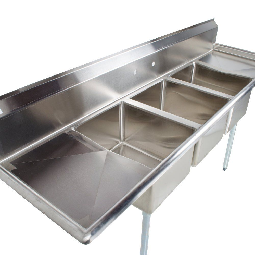 Regency 103 16 Gauge Stainless Steel Three Compartment Commercial Sink With Galvanized Steel Legs And 2 Drainboards 17 X 17 X 12 Bowls In 2020 Commercial Sink Log Home Kitchens Commercial Kitchen Equipment
