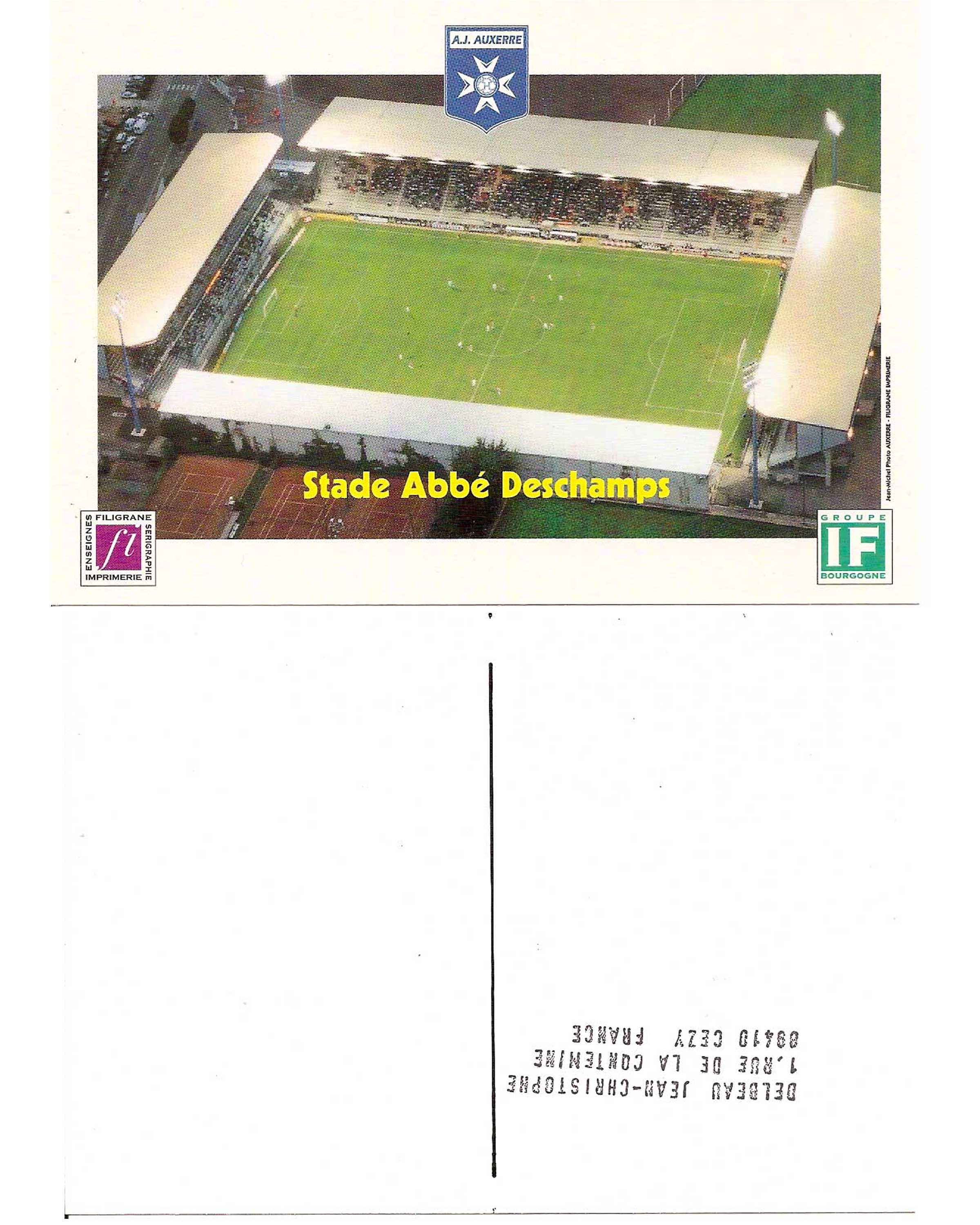 2 00 Code Fra 001 Auxerre Deschamps Stadium Postcard