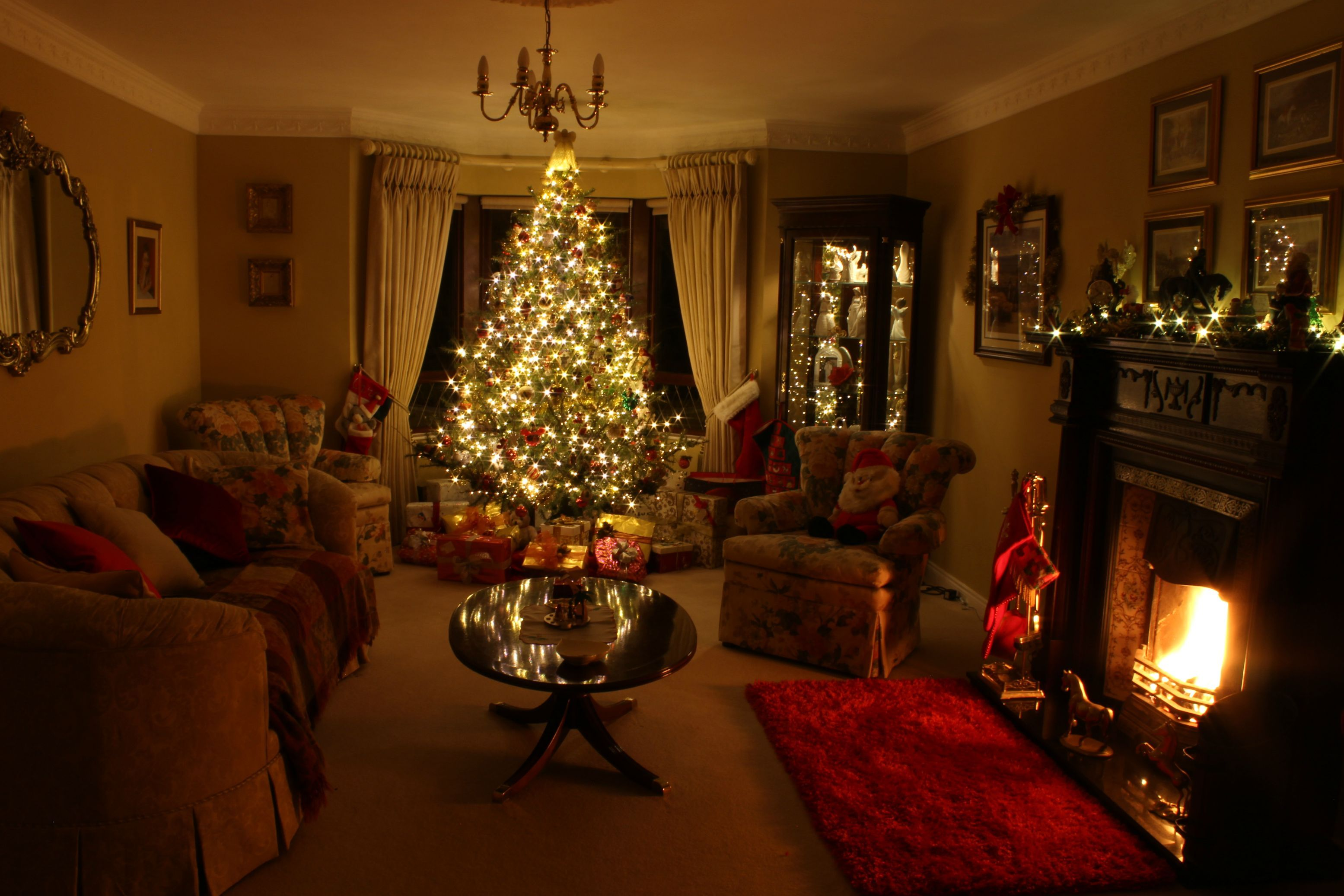 My mum is pretty proud of her living room outside - Christmas tree in living room ...