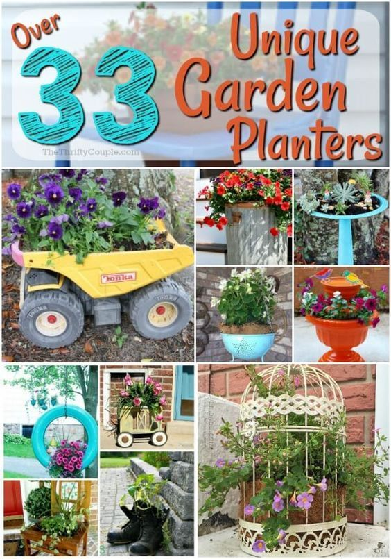 33 Ways to Reuse Items for Unique Garden Planter Ideas  The    is part of garden Planters Unique - As a thrifty gardener and landscaper, I LOVE to find some ways to reuse items for unique garden planter ideas Turn secondhand into container gardening
