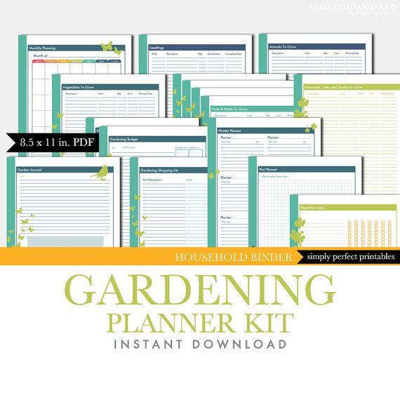 photograph about Free Printable Garden Journal named Gardening Planner Established - Back garden Magazine - Printable Package - PDF