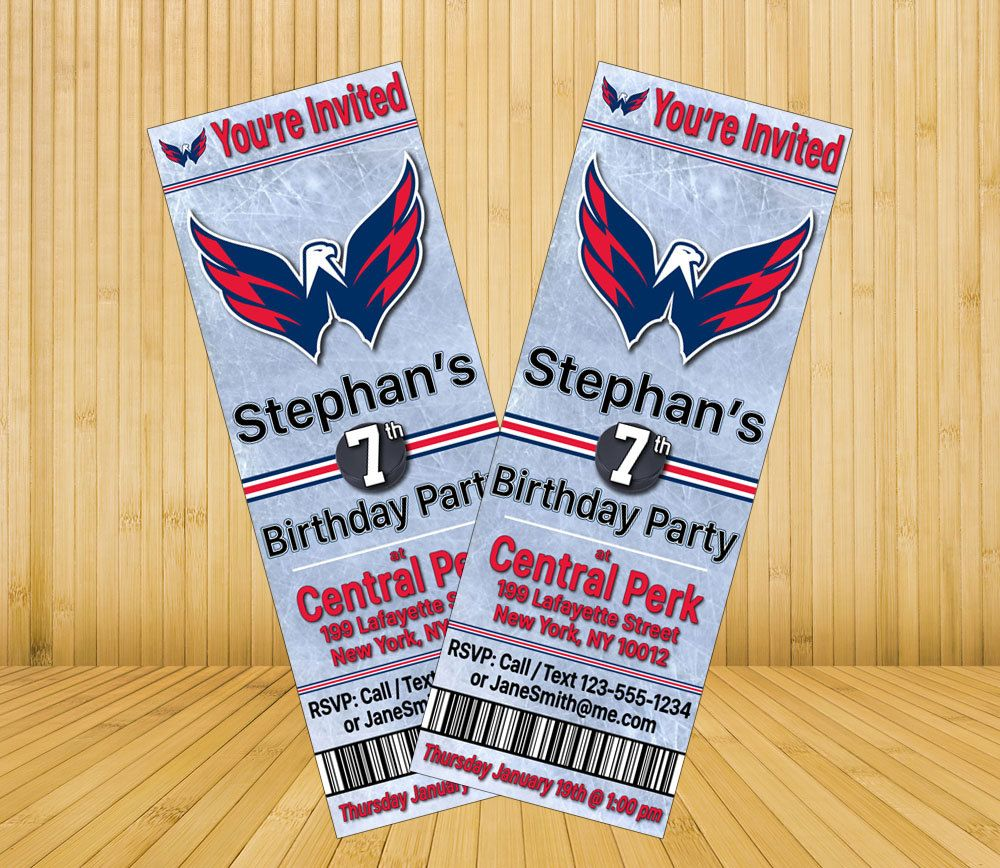 Washington Capitals Custom Birthday Party Invitations - Digital File ...