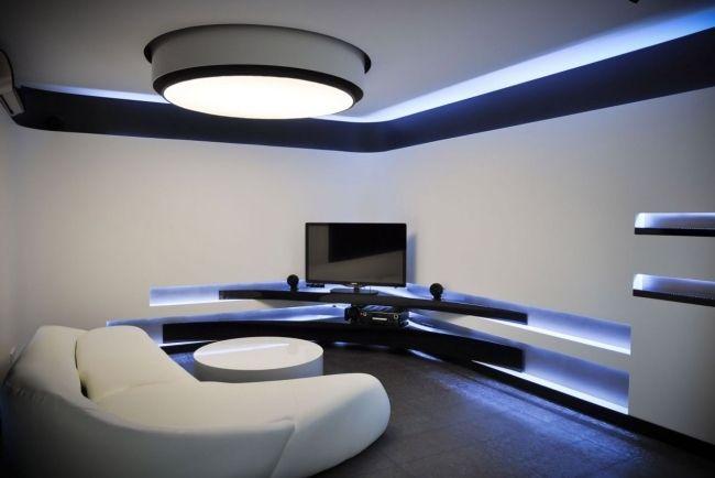 Weiße Wandfarbe indirekte deckenbeleuchtung blau high tech weiße wandfarbe living