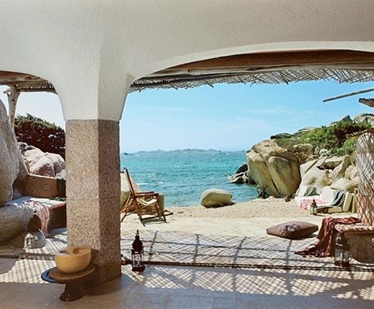 Sculpted house on a small island Cavallo, off the coast of Corsica in the Mediterranean Sea.