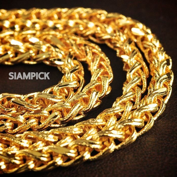 24 Inches Thai 24k Yellow Gold Baht Plated Heavy Big Chain Link Unbranded Necklace Thai Gold Vintage