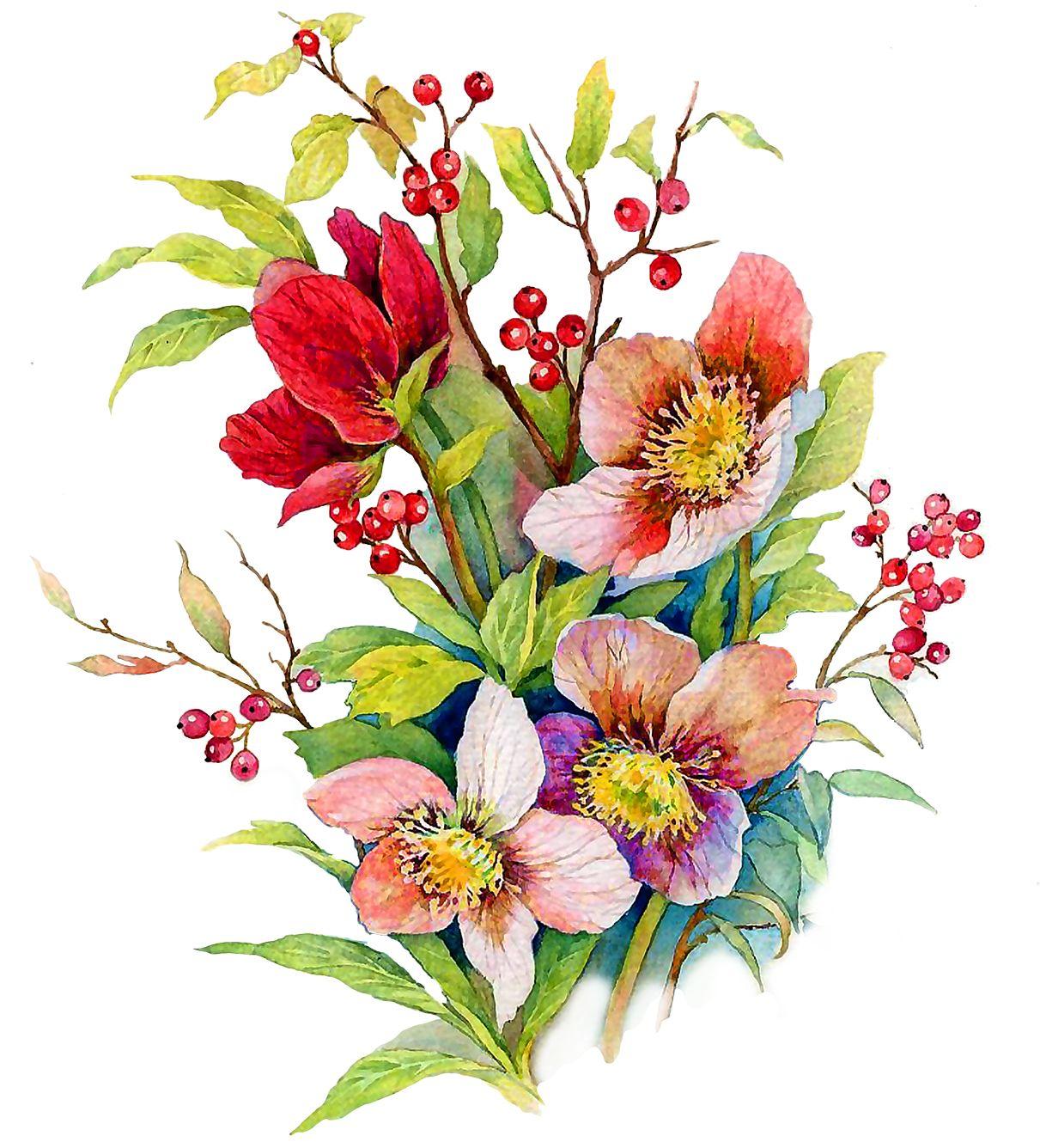 Рисунок цветы с открыткой