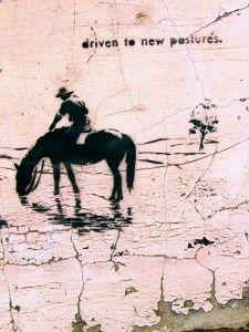 Driven to New Pastures - Tom Civil, stencil