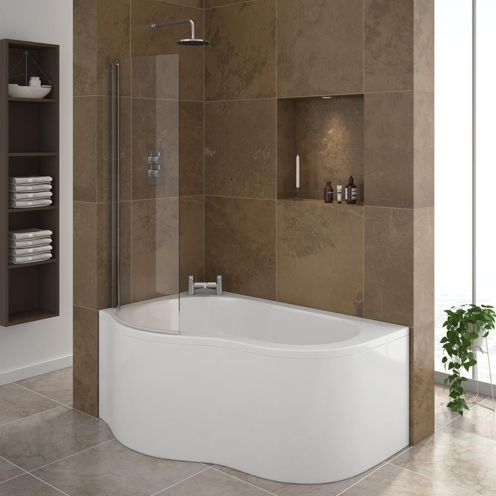 Estuary Corner Shower Bath - 1500mm with Screen + Panel (LH ...