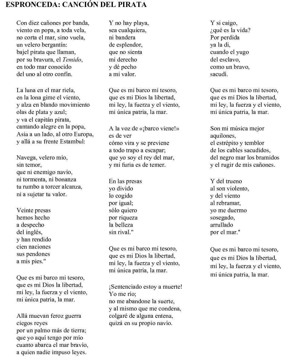 cancion del pirata | Heart language. | Pinterest | Poem and Language