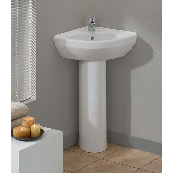 Cheviot 944 Wh 1 Universal Petite Corner Pedestal Sink Less Faucet White Efaucets Com Corner Pedestal Sink Tiny Powder Rooms Corner Sink Bathroom