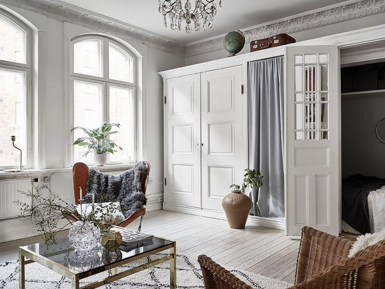 A Closet Turned Into A Bedroom In A Swedish Apartment
