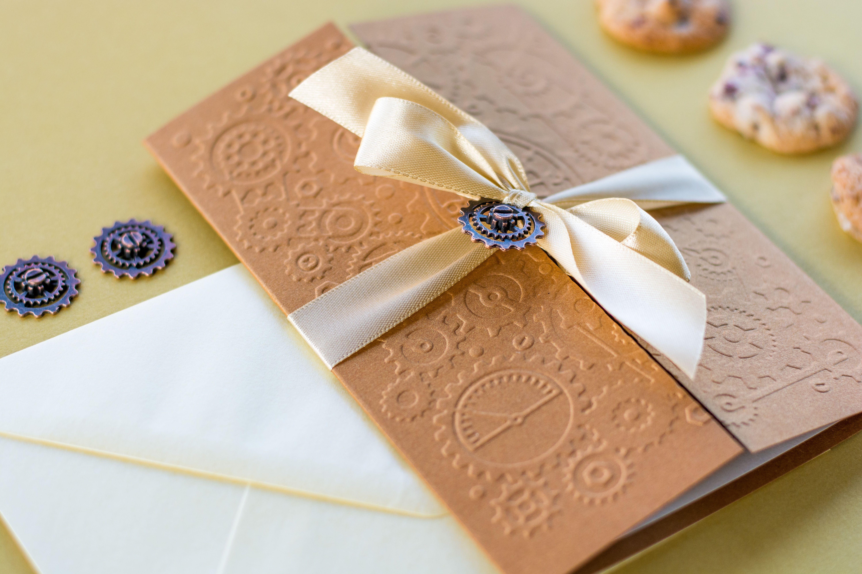 Steampunk Wedding Invitation Copper And Champagne Invitation
