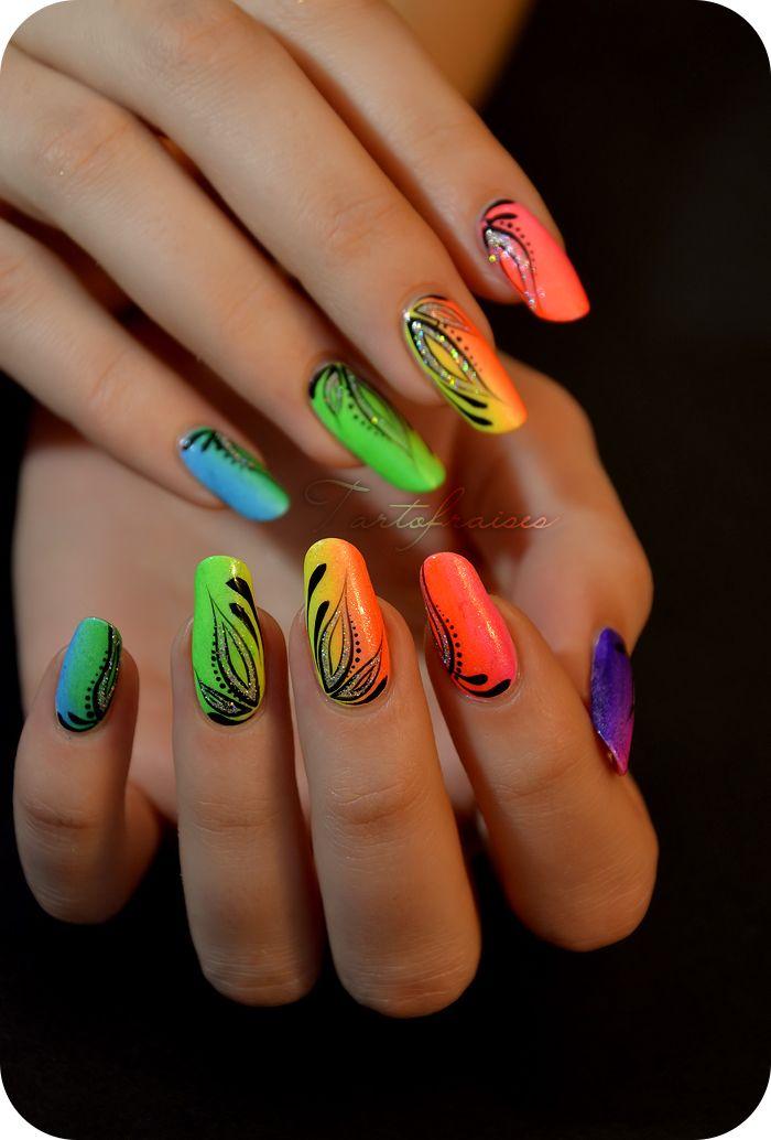 Nail art | Nails | Pinterest | Neon nail art, Neon nails and Art nails