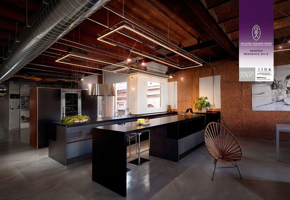Stylish Dark Kitchen Design With Industrial Touches   DigsDigs
