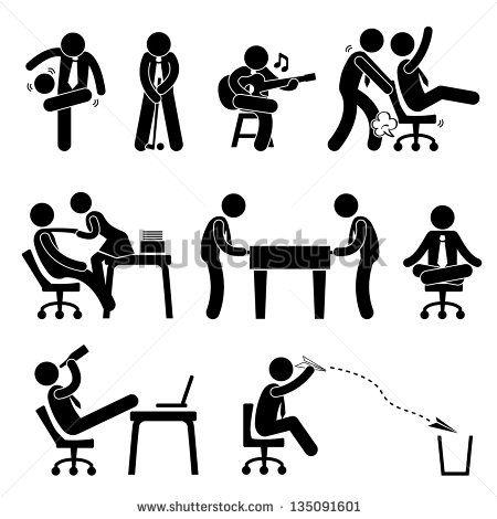 Employee Worker Staff Office Workplace Having Fun Playing