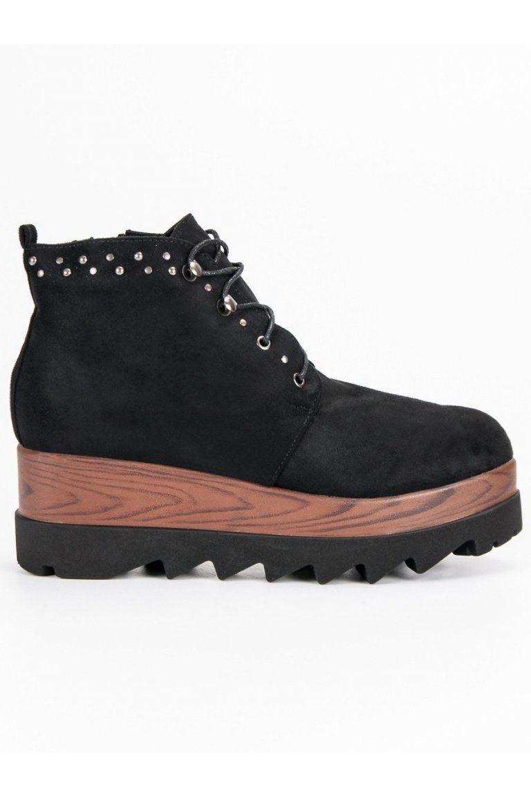 48c18f75d837 Semišové čierne topánky na platforme Kylie
