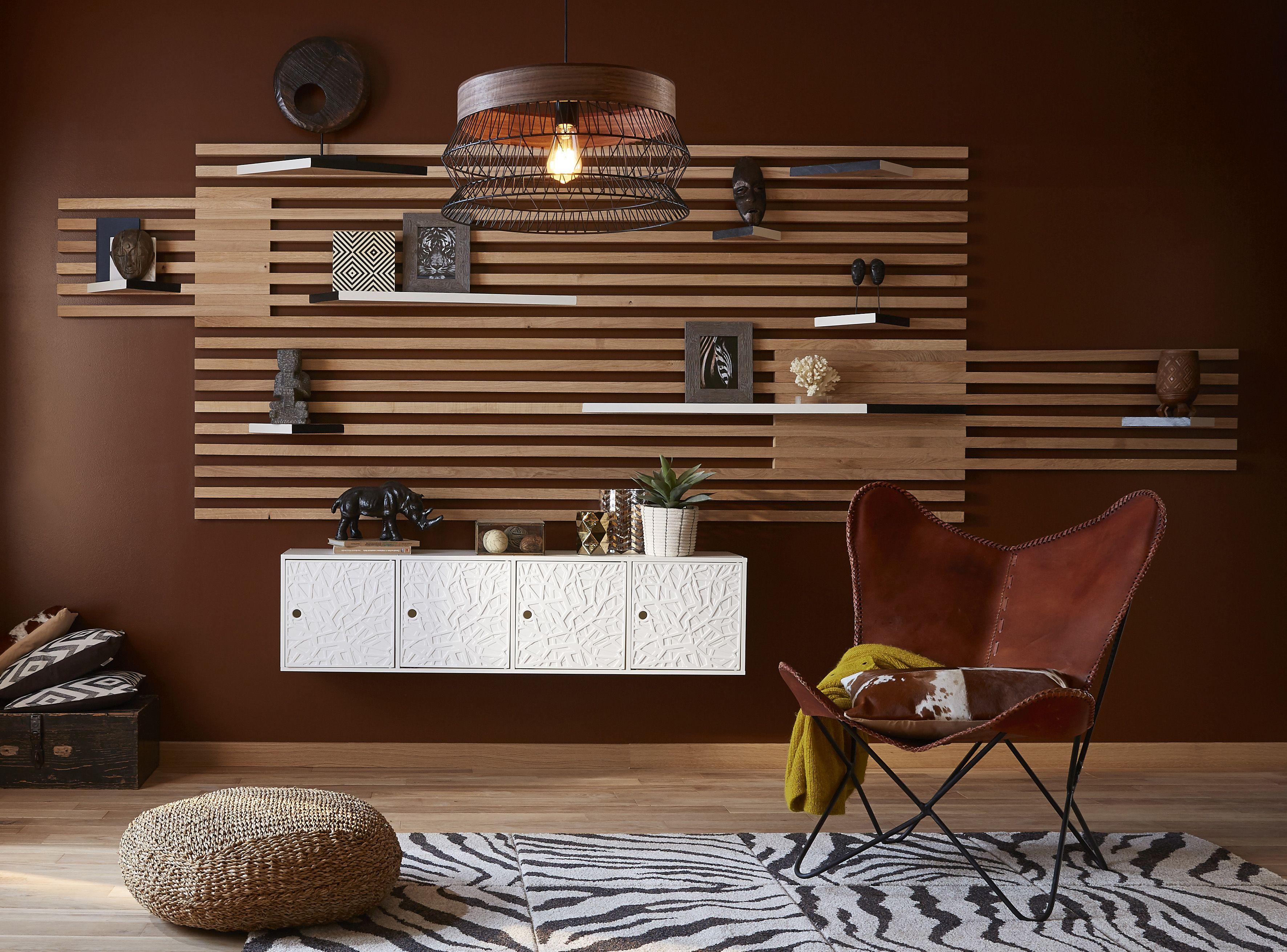 pour r aliser cette tag re dans le style afrique revisit e vous aurez besoin tv wall. Black Bedroom Furniture Sets. Home Design Ideas