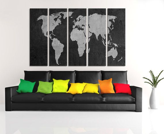Black and silver world map canvas print 5 panel split giclee wall black and silver world map canvas print 5 panel split giclee wall art for home or office wall decor interior design digitally textured gumiabroncs Gallery