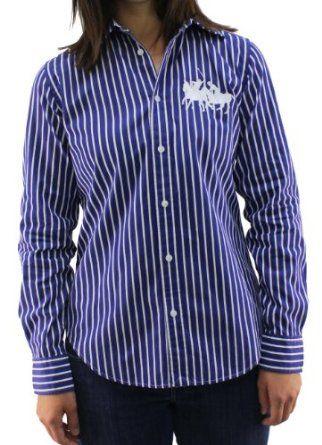 214c536d Polo Ralph Lauren Women's Big Pony Striped Blue Button Down T-Shirt- 2 Ralph  Lauren. $59.97